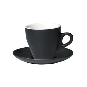 06.CAPTL.S.MB Incafe Matte Black Tulip Cappuccino Saucer Globe Importers Adelaide Hospitality Suppliers