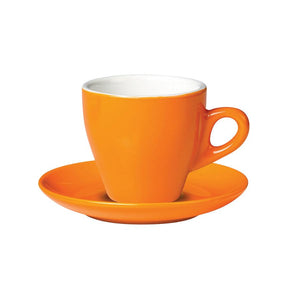 06.CAPTL.S.OR Incafe Orange Tulip Cappuccino Saucer Globe Importers Adelaide Hospitality Suppliers