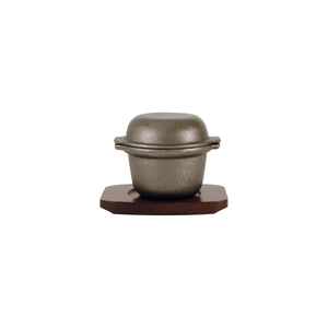 41042 Garlic Prawn Pot - Cast Iron, Round Wood Base Globe Importers Adelaide Hospitality Suppliers