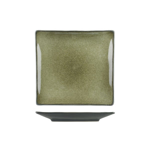 6607 Long Fine Uniq Green Grey Square Coupe Plate Globe Importers Adelaide Hospitality Supplies