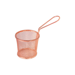 73712-CP Moda Brooklyn Round Service Basket With Handle - Copper Globe Importers Adelaide Hospitality Suppliers