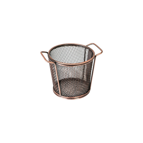 73717-AC Moda Brooklyn Round Service Basket - Antique Copper Globe Importers Adelaide Hospitality Suppliers
