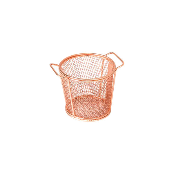 73717-CP Moda Brooklyn Round Service Basket - Copper Globe Importers Adelaide Hospitality Suppliers