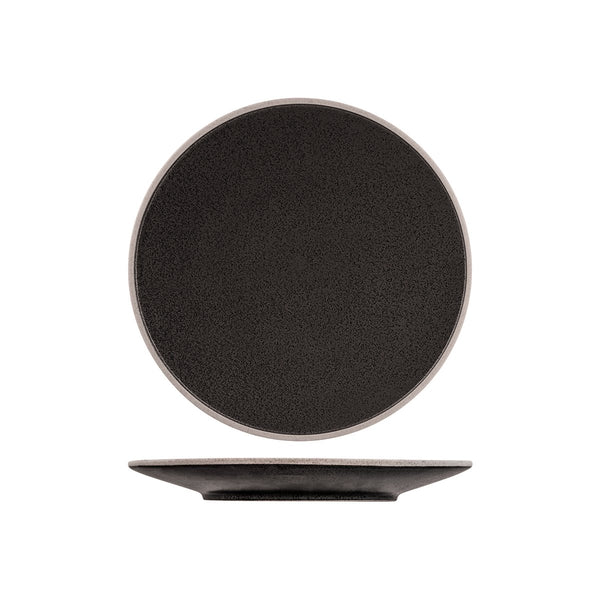 908708 Tablekraft Soho Speckle Black Round Plate Globe Importers Adelaide Hospitality Supplies