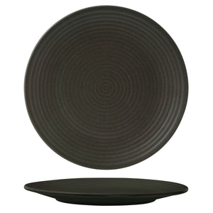CHARCOAL ROUND RIBBED PLATE