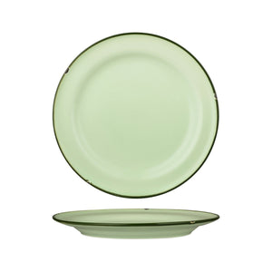 94111-GG Luzerne Tintin Green Green Round Plate Wide Rim Globe Importers Adelaide Hospitality Supplies