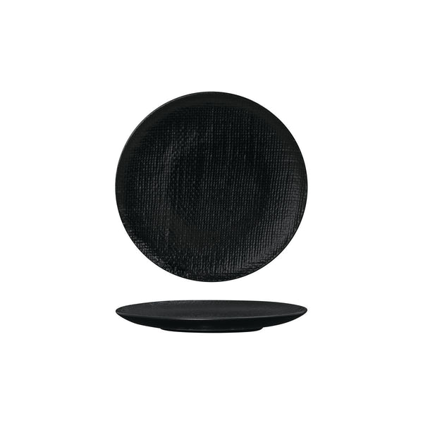 94507-BK Luzerne Linen Black Round Flat Coupe Plate Globe Importers Adelaide Hospitality Supplies