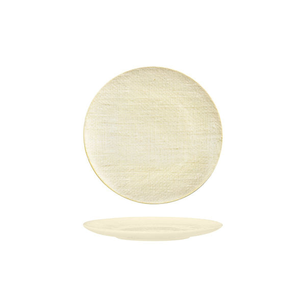 94507-RW Luzerne Linen Reactive White Round Flat Coupe Plate Globe Importers Adelaide Hospitality Supplies