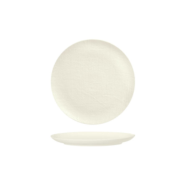 94507-W Luzerne Linen White Round Flat Coupe Plate Globe Importers Adelaide Hospitality Supplies