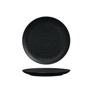 94508-BK Luzerne Linen Black Round Flat Coupe Plate Globe Importers Adelaide Hospitality Supplies