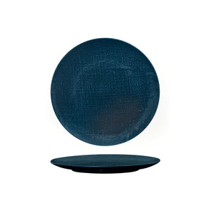 94508-BL Luzerne Linen Navy Blue Round Flat Coupe Plate Globe Importers Adelaide Hospitality Supplies