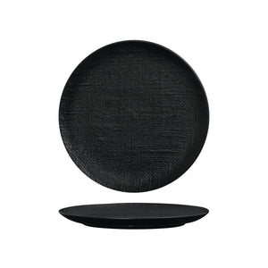 94510-BK Luzerne Linen Black Round Flat Coupe Plate Globe Importers Adelaide Hospitality Supplies