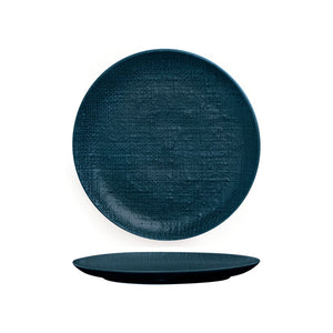 94510-BL Luzerne Linen Navy Blue Round Flat Coupe Plate Globe Importers Adelaide Hospitality Supplies