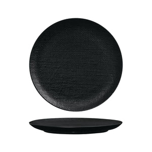 94511-BK Luzerne Linen Black Round Flat Coupe Plate Globe Importers Adelaide Hospitality Supplies