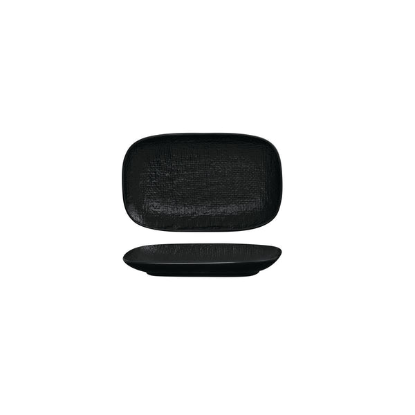 LINEN BLACK OBLONG PLATE