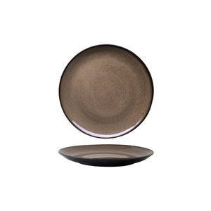 RUSTIC CHESTNUT ROUND COUPE PLATE