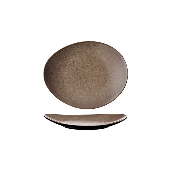 948531 Luzerne Rustic Chestnut Oval Coupe Plate Globe Importers Adelaide Hospitality Supplies