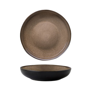948553 Luzerne Rustic Chestnut Round Share Bowl Globe Importers Adelaide Hospitality Supplies