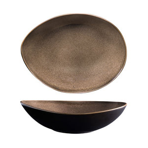 RUSTIC CHESTNUT OVAL SHARE BOWL