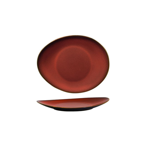 948831 Luzerne Rustic Crimson Oval Coupe Plate Globe Importers Adelaide Hospitality Supplies