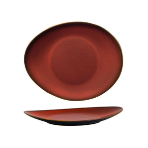 948832 Luzerne Rustic Crimson Oval Coupe Plate Globe Importers Adelaide Hospitality Supplies