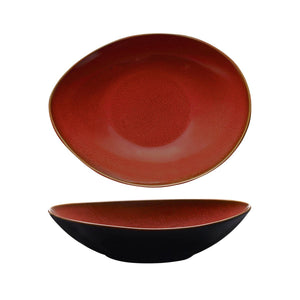 RUSTIC CRIMSON OVAL SHARE BOWL