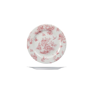 9971521 Churchill Vintage Prints Rose Chintz Cranberry Round Plate Wide Rim Globe Importers Adelaide Hospitality Supplies