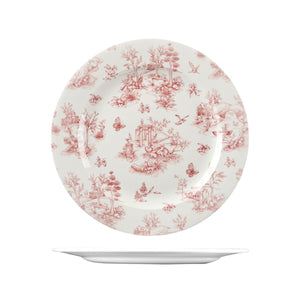 9971530 Churchill Vintage Prints Rose Chintz Cranberry Round Plate Wide Rim Globe Importers Adelaide Hospitality Supplies