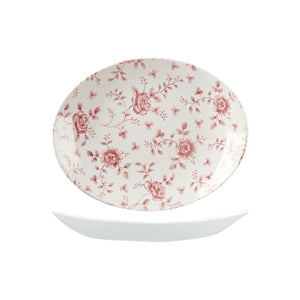 9972332 Churchill Vintage Prints Oval Coupe Plate Rose Chintz Cranberry Globe Importers Adelaide Hospitality Supplies