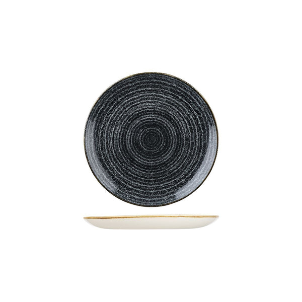 HOMESPUN CHARCOAL BLACK ROUND COUPE PLATE