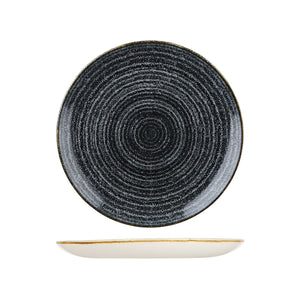 9976126-C Studio Prints Homespun Charcoal Black Round Coupe Plate Globe Importers Adelaide Hospitality Supplies