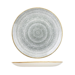 HOMESPUN STONE GREY ROUND COUPE PLATE