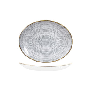 9976227-G Studio Prints Homespun Stone Grey Oval Coupe Plate Globe Importers Adelaide Hospitality Supplies