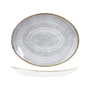 9976232-G Studio Prints Homespun Stone Grey Oval Coupe Plate Globe Importers Adelaide Hospitality Supplies