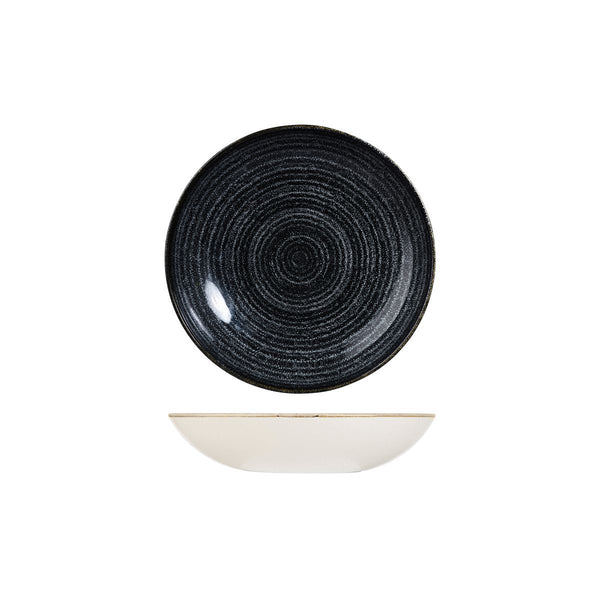 HOMESPUN CHARCOAL BLACK ROUND COUPE BOWL