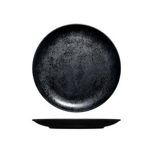 RK3240-BK RAK Porcelain Karbon Black Round Coupe Plate Globe Importers Adelaide Hospitality Supplies