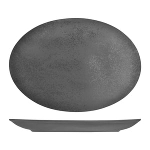 RK4360-GY RAK Porcelain Karbon Shale Oval Coupe Plate Globe Importers Adelaide Hospitality Supplies