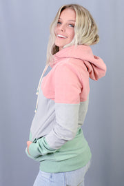 Adella Threaded Double Hood Sweatshirt in Pastel Block