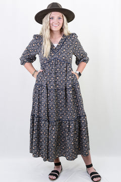 Amberlyn Floral V-Neck Maxi Dress in Navy