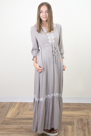 Ariana Tie Waist Embroidered Maxi Dress in Gray