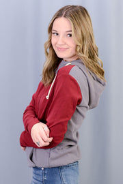 Ashley Half-Zip Hoodie in Burgundy- PLUS