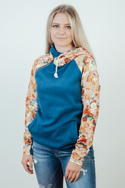 Carrie Double Hood Floral Sleeve Sweatshirt - PLUS
