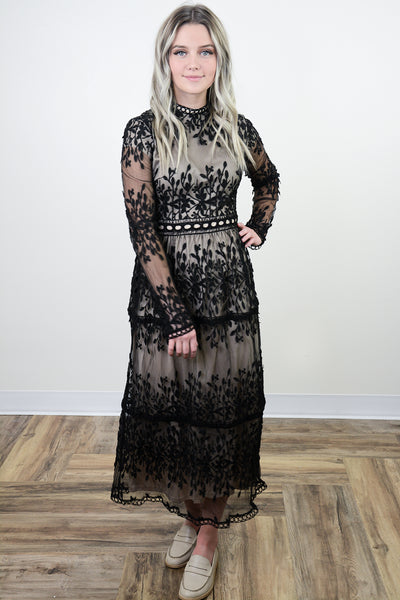 Clara Tiered Lace Overlay Dress in Black
