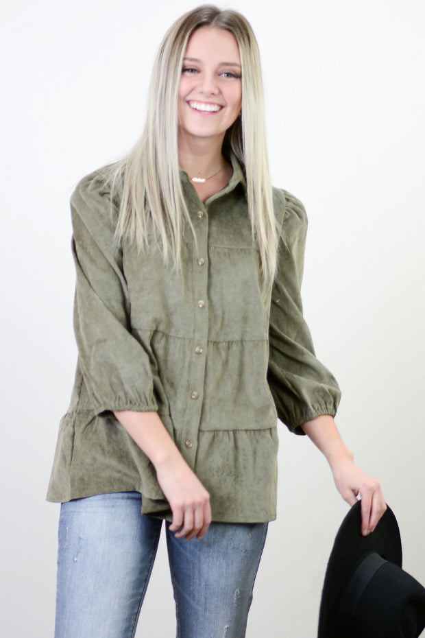 Emberley Tiered Button Down Top in Olive