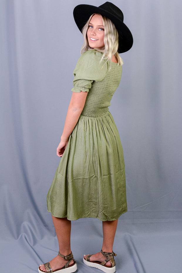 Janna Short Sleeve Bodice Midi Dress in Lt. Olive Sheen