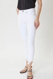 Emery High Rise Distressed Ankle Jeans in White