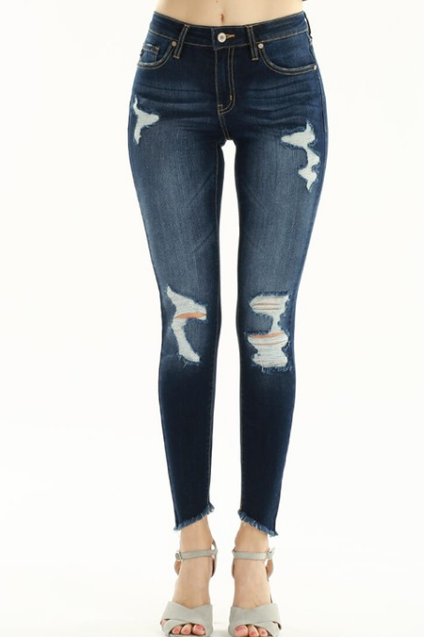 Chandler Mid Rise Distressed Super Skinny Jeans- Dark Wash