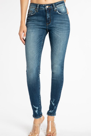 Delaney Mid Rise Distressed Ankle Jeans