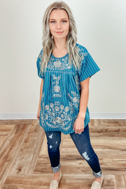 Maggie Striped Embroidered Top in Teal Blue
