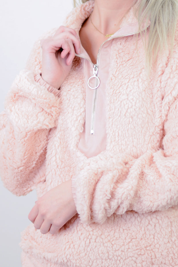 Melody Sherpa Pullover Sweatshirt in Blush - PLUS
